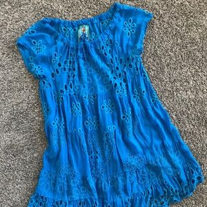 Johnny Was Crochet Eyelet Dress Electric Blue